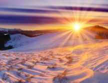 Sunrise over the white nature - Winter time