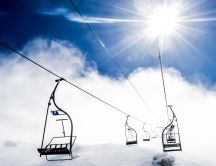 Chairlift through the clouds - Hd winter wallpaper