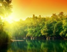 Sunrise over the green nature and lake - HD nature wallpaper