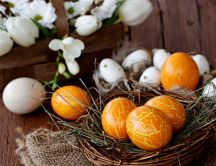 Orange Easter eggs - HD spring holiday