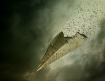Collapsing paper airplane - Hd wallpaper