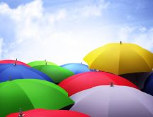 Colourful umbrellas in the sky - HD wallpaper