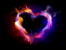Beautiful heart made of magic flame