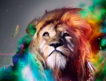 Majestic Lion artistic wallpaper