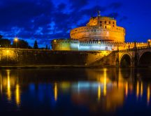 Castle Sant Angelo Rome on the night