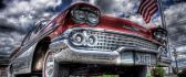 Old red car and the USA flag - HDR wallpaper
