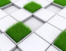 Abstract tetris game with grass - HD wallpaper