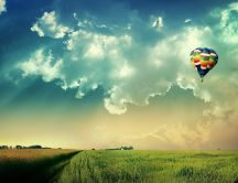 Coloured  hot air balloon flying in the sky-nature wallpaper