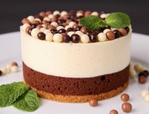 Delicious cake with chocolate candies