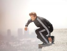 David Beckham ready to jump off building