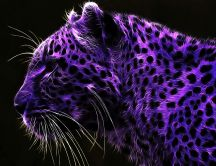 Purple tiger with black dots - Artistic wallpaper