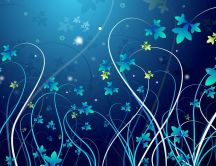 Blue and green leaves - Vector and design wallpaper