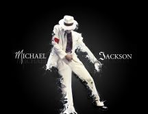 Michael Jackson in white suit and with hat