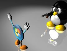 Figurine with Linux and Windows logo