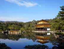 Golden Pavilion building of a Buddhist Japanese temple