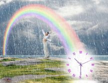 Sun rain and time - beautiful rainbow and relaxing time
