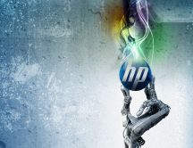 HP logo in a skeleton hand - Abstract wallpaper