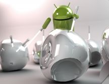 Android and Apple in a 3D and HD wallpaper