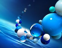 White and blue balls over the water - 3D wallpaper