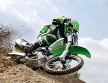 Green Kawasaki Motocross in the sand