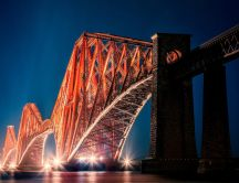 The Forth Bridge Edinburgh lit in the night