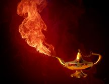 Fire from the gold kettle - Fantastic HD wallpaper