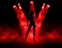 A girl dancing in the red lights - Graphic wallpaper