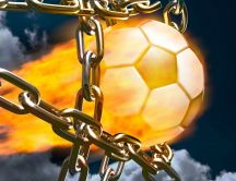 Football in flames and in chains - Abstract wallpaper
