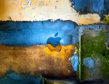 Abstract old wall with painted apple logo
