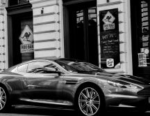 Black Aston Martin DBS Coupe - White and black wallpaper