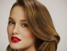 Gorgeous Leighton Meester with red lips