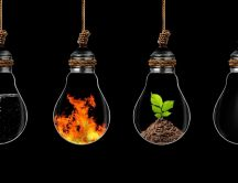 All elements of life in hanging bulbs - Abstract wallpaper