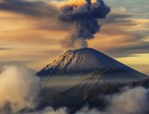 Eruption of Semeru volcano from Indonesia