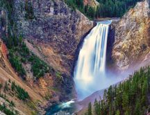 Amazing waterfall in Yellowstone National Park