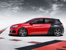 Black and red Peugeot 308 R - Side of car