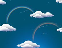 Abstract sky with white clouds and rainbows