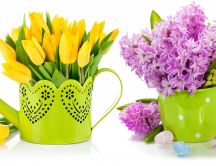 Yellow tulips in a watering can and purple lilac