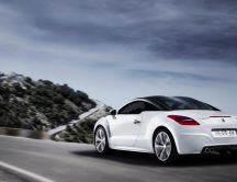 White Peugeot RCZ Sport Rear on road