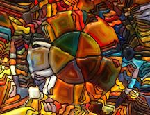 Abstract stained glass in different forms