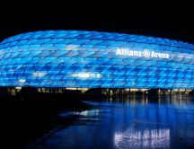 The Allianz Arena from Munich, blue in night