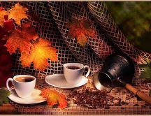 Black coffee on the autumn season