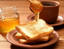 Sweet breakfast every day - honey and coffee