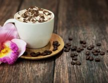 Special coffee for my love - foam, chocolate and orchid