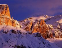 Snow on the Sella Group mountains from Italy