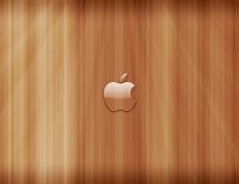 Transparent apple logo on wooden panels