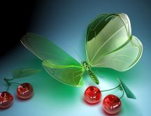 3D digital art - butterfly and cherries from glass