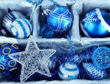Beautiful blue Christmas accessories - stars and balls