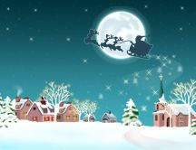 Santa Claus and reindeers - fly over the village