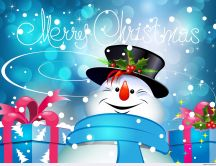 Funny snowman with presents - Merry Christmas