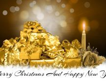 Merry Christmas and Happy New Year - golden presents